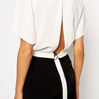 White Short Sleeve Back Slit Cropped Top