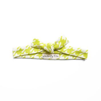 Cats-Tooth Organic Stretch Knit Head Tie in Lime Green For Women