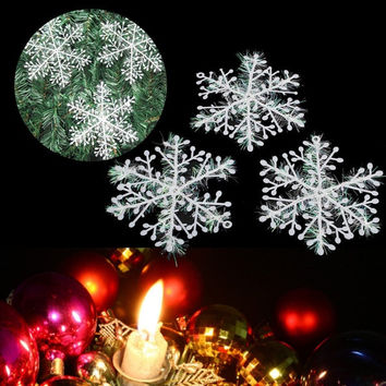 30pcs White Snowflake Ornaments Christmas Tree Decorations Home Festival = 1946745796
