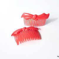Red Plastic Hair Combs 1980s Molded Plastic Hair Combs with Bows