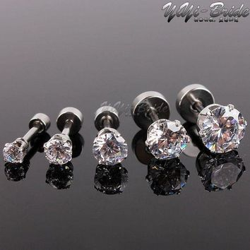 5pcs 3 7mm Zircon Ear Piercing Unique Design Silver Stainless Steel Fake Piercing Tunnels Stud Body Piercing Jewelry Women