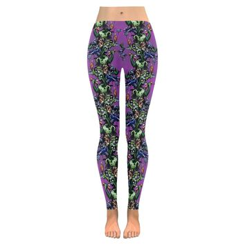 Zombie Pillars Pattern Low Rise Leggings (Invisible Stitch) (Model L05)