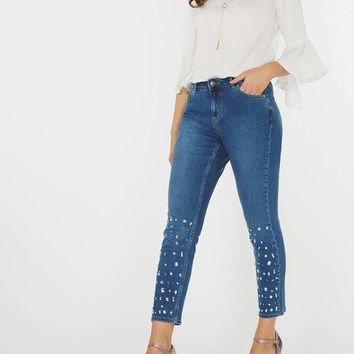 Blue Mid Wash Embellished Straight Fit Jeans | Dorothyperkins