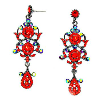 Chic Lady Sexy Red AB Austrian Crystal Elegant Bohemian Boho Statement Chandelier Long Earrings
