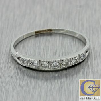 1930s Antique Art Deco 18k Solid White Gold Single Cut Diamond Wedding Band Ring