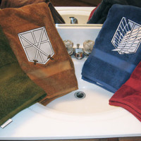 Attack on Titan Embossed Embroidered Plush Bath Towels in Scout Blue, Garrison Red, Military Green and Trainee Brown