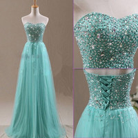 New Evening Party Prom Dresses Ball Gown Beading Formal Bridesmaid Long Dress