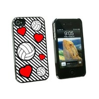 Graphics and More Volleyball Love Snap-On Hard Protective Case for Apple iPhone 4/4S - Non-Retail Packaging - Black