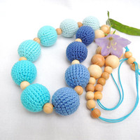 Blue Crochet nursing necklace Breastfeeding necklace Organic teething baby Toy Sensory Wooden beads Eco friendly jewelry Gift for new Mom