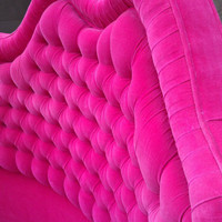 Tufted Round Bed in Hot Pink Velvet Hollywood Regency Fabulous