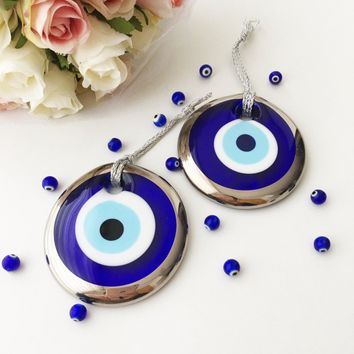 Silver evil eye bead - 7cm - evil eye wall hanging - gold evil eye charm