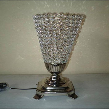 Vintage Metal Crystal Electric Light  Table Lamp