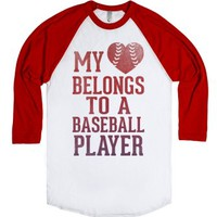 My Heart Belongs To A Baseball Player (Red Baseball Tee)-T-Shirt