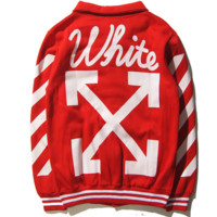 Street tide brand off white alphabet oblique stripe baseball clothing jackets wild sweater men