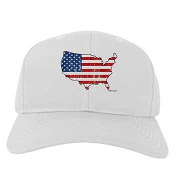United States Cutout - American Flag Distressed Adult Baseball Cap Hat by TooLoud