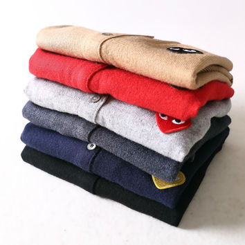 Women Men Long  Comme des Garcons CDG Play Style Casual Cashmere Cardigan Sweater Spring Autumn Lover Couple Knitted Sweaters