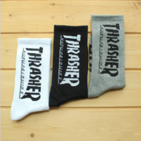"""Thrasher"" skateboard hip-hop cotton stockings A set for THREE pairs"