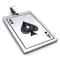 """Amazon.com: 26"""" KONOV Jewelry Stainless Steel Ace of Spades Card Poker Dog Tag Pendant Mens Necklace - Silver Black, 26 inch Chain: Jewelry"""