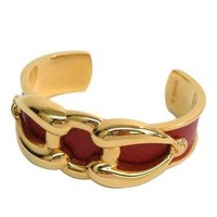 Hermes Red Leather Gold Chain Link Bangle Bracelet Cuff In Box