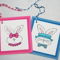 Sweet Bunny Easter Basket Gift Tags Set of Four