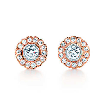 Tiffany & Co. - Tiffany Enchant™ flower earrings in platinum and 18k rose gold with diamonds.