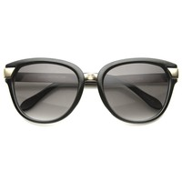 Women's Oversize Cat Eye Sunglasses With Metal Temples 9822