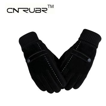 New Arrival Men's Genuine Pigskin Leather Gloves Winter Gloves Men Cold Proof Warm Gloves Knitting White Line Patchwork Gloves