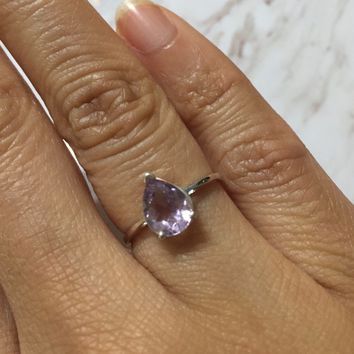 Lavender Amethyst Drop Ring-Version 2