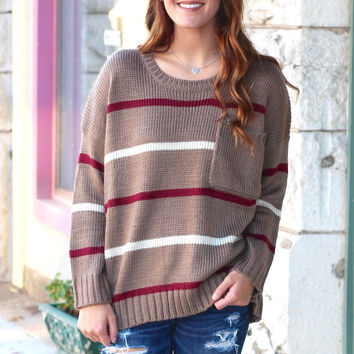 Slouchy Big Pocket Striped Sweater {Mocha}