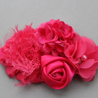 Hot pink headband baby pink headband baby gift Shabby chic headband Girl headband Infant headband lace headband photo prop