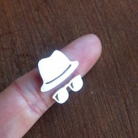Fedora Hat with sunglasses - Handmade Silver Rings | smilingsilversmith - Jewelry on ArtFire