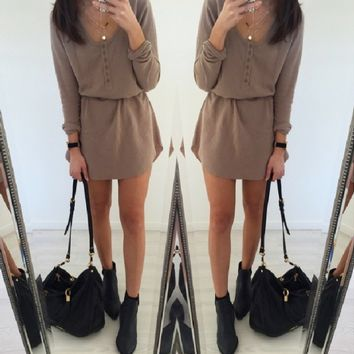 Khaki Button-Up Long Sleeve Dress