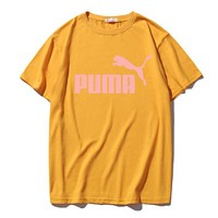 PUMA New fashion bust letter print couple top t-shirt Yellow