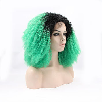 """High Heat  Synthetic afro kinky curly half Lace Front wig  weave 16"""" Black & Bright Green  Ombre Dip Dye"""