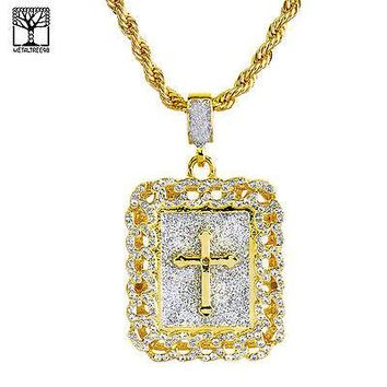 Jewelry Kay style Square Gold Plated Iced Out CROSS Pendant Heavy Rope Chain Necklace NA 0123 G