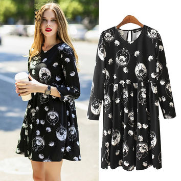 Punk Rock Dark Street Jupe Lolita Floral Print Ladies Simple Mid Sleeve Women Black Gothic Robe Pleated  Dress Summer