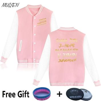 MULYEN Kpop Young Forever Baseball Uniform Women BTS Bangtan Boys Fans Hoodies Oversize Pink Sweatshirts Couple Clothes