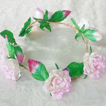 Light Pink rose flower crown Rose leaves flower crown Large rose  headband /flower crown /floral headpiece/ flower crown ribbon tie back