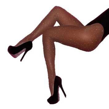 Tights For Female New Women Crystal Rhinestone Fishnet Elastic Tight Fish Net Womens Clothing Skinny Tights Thin Lady Pantyhose