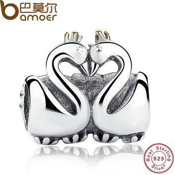 Swan Couples Embrace Charm Fit Original Bracelet 925 Sterling Silver With Gold Color Crown DIY LOVE Jewelry PAS063