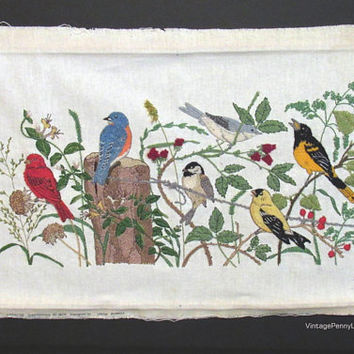 Completed Vintage Bird Embroidery Tapestry, Folk Art, Salvaged Fibre Art