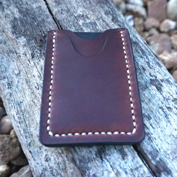 Mens Brown Leather Wallet Classic Card Case