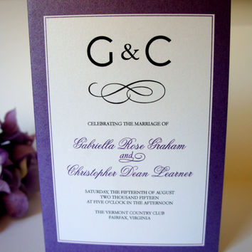 Purple Monogram Wedding Program - DEPOSIT