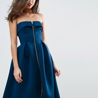 ASOS Scuba Zip Front Midi Prom Dress at asos.com