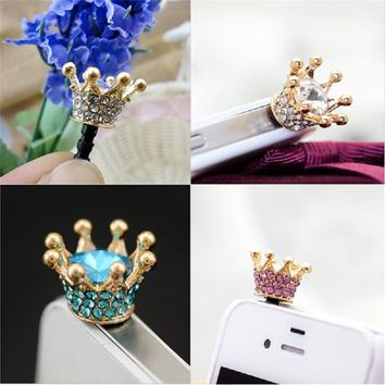 FFFAS HOT SALE Mini 3.5mm Jack Crystal Rhinestones Cellphone Charms Earphone Audio Headphone Anti Crown Dust Plug Phone