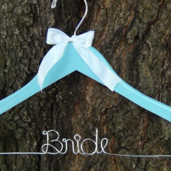Personalized Keepsake Bridal Hanger, BLUE Bridal Shower Gift idea,Custom Made Wedding Hangers with Names, Wedding Photo Props