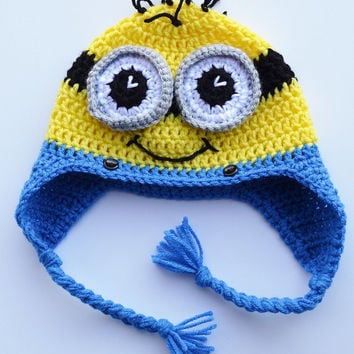 Minion Hat, Earflap, Children's Hat, Ready to Ship