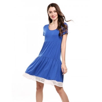 Women Short Sleeve Lace Trim Casual Loose Fit Tunic Dress