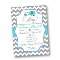 Twin Baby Shower Invitation chevron Elephant pink or blue with grey chevron girls or boys  teddy bears printable invite or prints