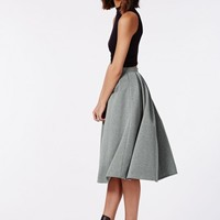 Missguided - Auberta Pleated Midi Skirt Grey